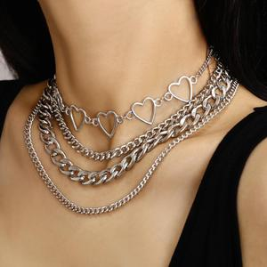 Punk Multi Layer Hollow Heart Choker Necklace for Women Girls 2020 Summer Metal Hip Hop Necklaces Party Beach Jewelry Gifts