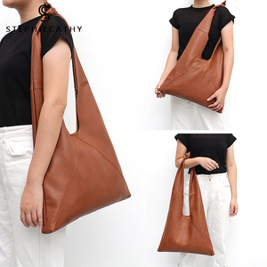 Image 5 - SC Knotted Handle Cow Leather Hobo Bag Femal High Quality Luxury Design Brand Genuine Italian Leather Big Women Shoulder Bags