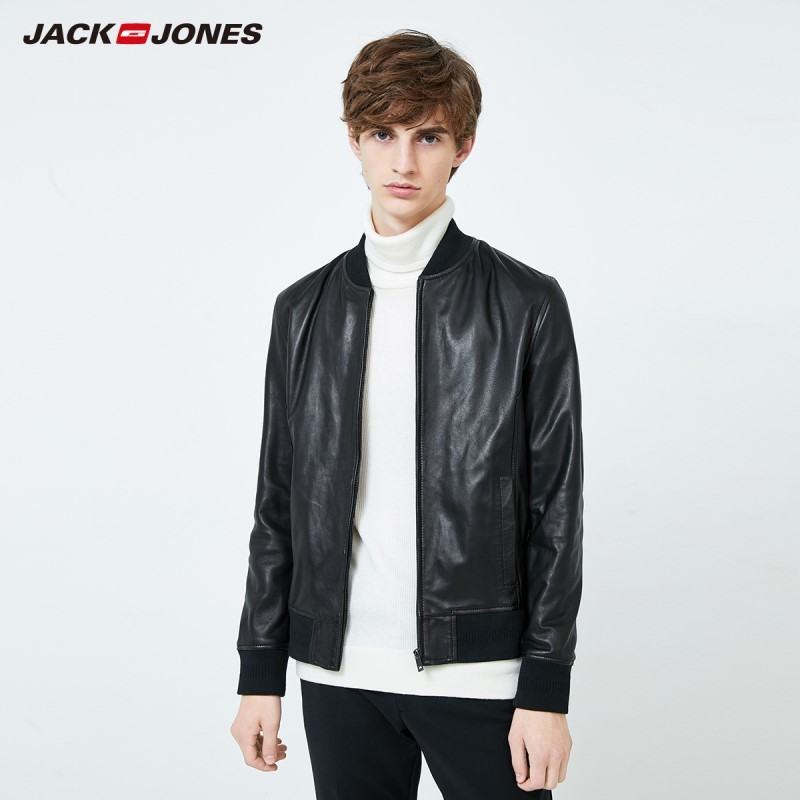 JackJones Men's Fashion Trend Genuine Leather Jacket Real Sheepskin Style Coat Menswear 219310503