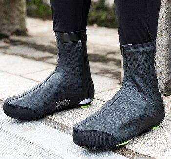 Cubiertas reflectantes para zapatos de ciclismo Rockbros impermeables a prueba de viento para bicicletas S M L 34-38-42-46 cubiertas térmicas para zapatos de invierno para bicicletas