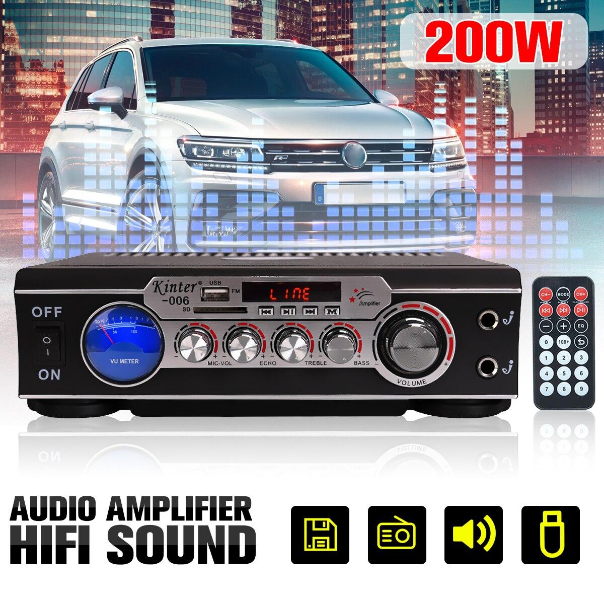 Kinter 220 V/12 V 2CH Digital Auto Power Audio Verstärker USB SD FM Radio Stereo Lautsprecher Heimkino verstärker mit Fernbedienung