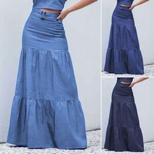 Party Bottoms 2020 Women Solid Long Skirts Elastic Waist Pleated Maxi S