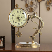 [HHT] European Light Luxury Clock Ornaments Retro Home Decorations Bedside Table Clock Desk Study Office Soft Decoration
