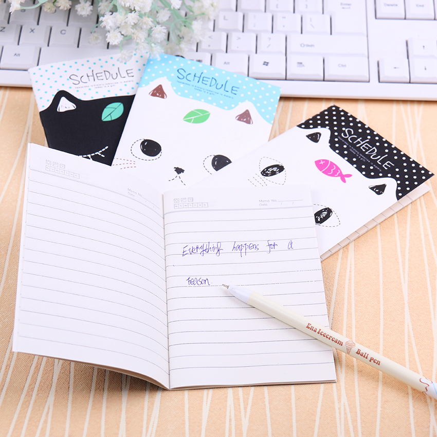 Korean Stationery Notebook Office Supplies School Creative Cartoon Cat Style Filofax Notepad Diary Students 1PC