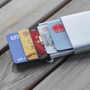 Image 5 - Nowy uchwyt na karty MIIIW ze stali nierdzewnej srebrny aluminiowy etui na karty kredytowe damskie męskie etui na dowód karty etui kieszonkowe