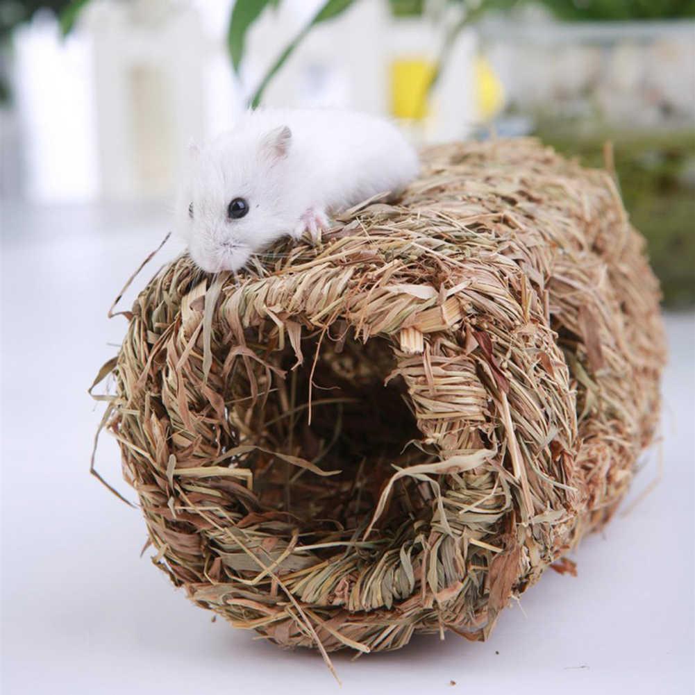 Grama palha pequeno animal de estimação coelho hamster cobaia gaiola ninho casa mastigar cama túnel