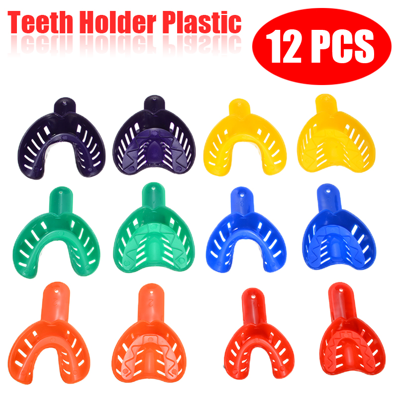 12pcs/set Plastic Teeth Holder Trays Dental Impression Trays Central Supply Durable Dental Care Teeth Holder For Dental Tools