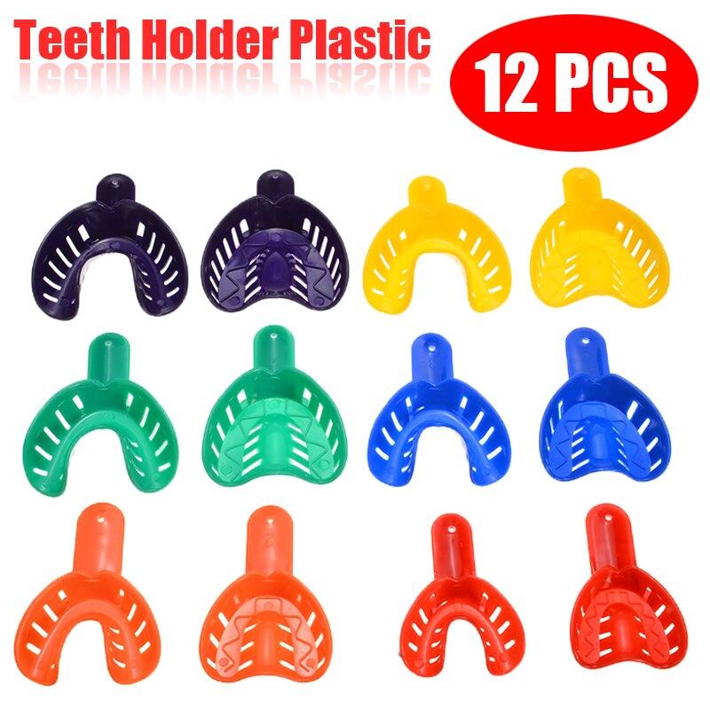 12pcs/set Plastic Teeth Holder Trays Dental Impression Trays Central Supply Durable Dental Care Teeth Holder For Dental Tools