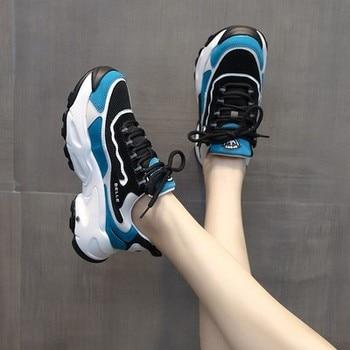 2020 Spring Autumn Women Casual Shoes V Fashion Platform Woman Chunky Sneakers Ladies Sports White