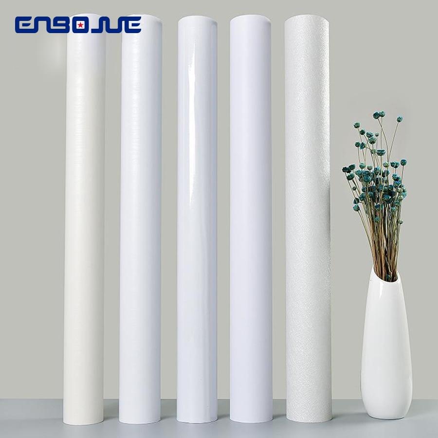 Pure White Waterproof Wallpaper Old Furniture PVC Refurbished Wall Sticker Cabinet Door Desktop Papel De Parede Mural Decoration