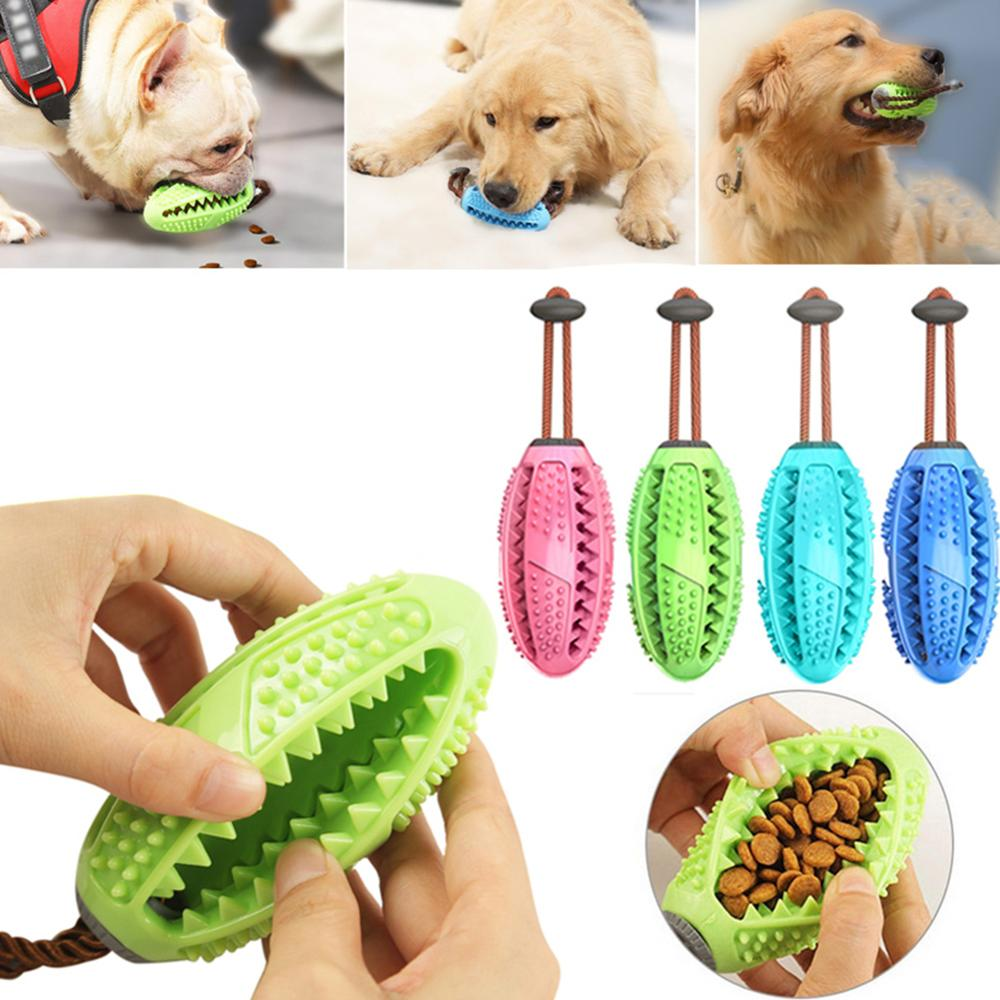Dog Interactive Rubber Ball Puppy Chew Playing Toy Food Dispenser Ball Pet Soft Rubber Toothbrush Bite-Resistant Clean Teeth Toy image