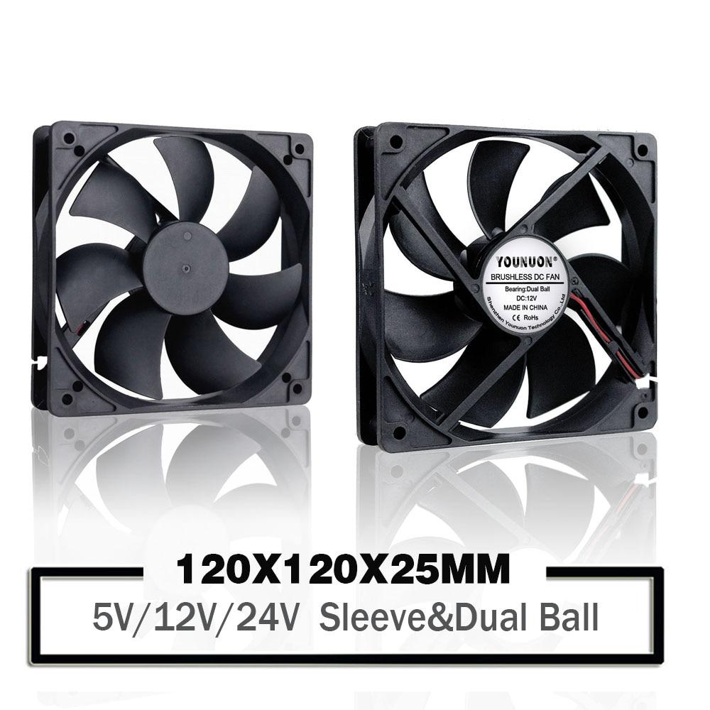 YOUNUON 12cm 12025 Fan 5V 12V 24V 120mm*120mm*25mm Fan DC Brushless Cooling Fan 120x120x25mm USB 2PIN PC Computer Case Cooler