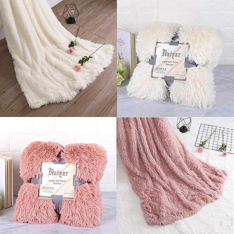 Super Soft Fuzzy Fur Faux Elegant Cozy With Fluffy Throw Blanket Bed Sofa Bedspread Long Shaggy Warm Bedding Sheet Pillow Case