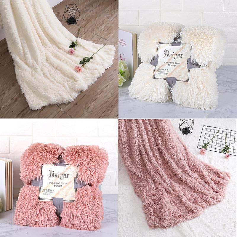 Super Soft Fuzzy Fur Faux Elegant Cozy With Fluffy Throw Blanket Bed Sofa Bedspread Long Shaggy Warm Bedding Sheet Pillow Case