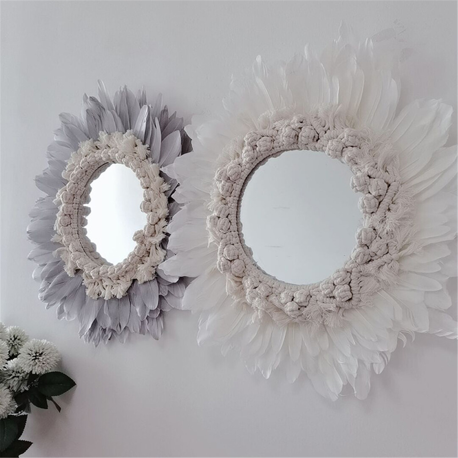 Hot Feather Mirror Hanging Decorations Children Room Handmade Wall Decor Home Pendant Mounted Hanging Wedding Party Home Decor