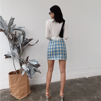 Women Split Details Plaid Mini Skirt with Under Shorts Mini Skort In Check 6