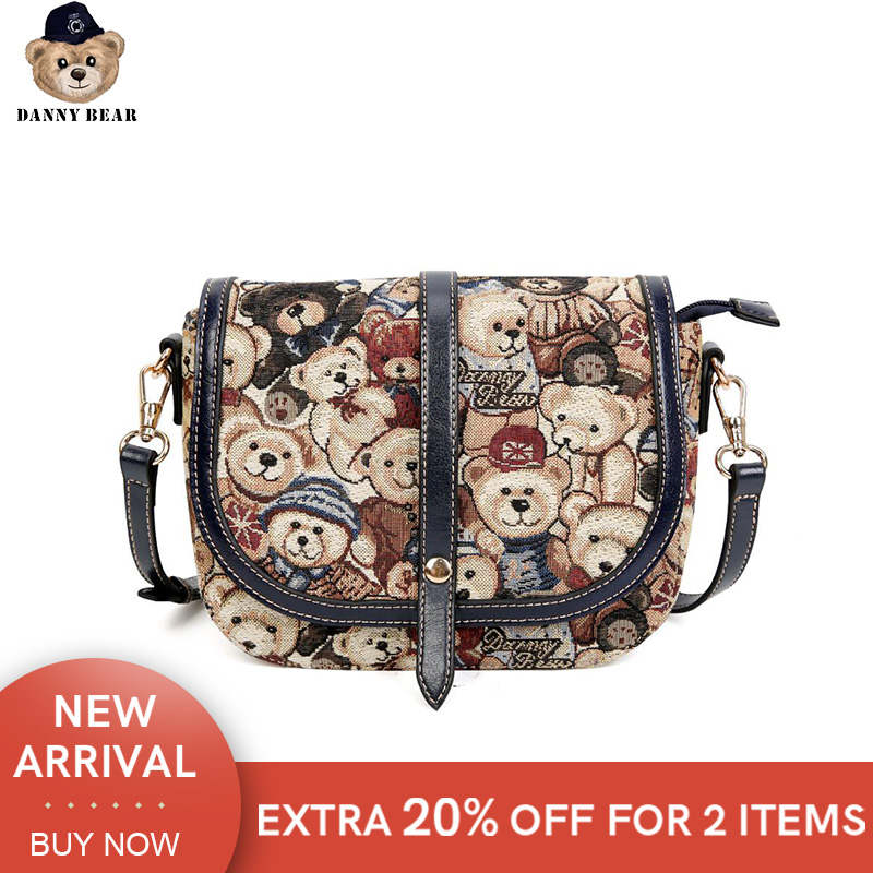 Danny Bear Fashion Women Bag Vintage Shoulder Bag Bear Print Streetbag Female Handbag DBWB8115078-003