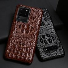 Lederen Telefoon Geval Voor Samsung Galaxy S20 Ultra S7 S8 S9 S10 Lite S10e Note 8 9 10 20 Plus a20 A50 A70 A51 A71 A8 Krokodil Hoofd