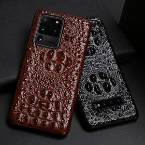 Image 1 - Skórzany futerał na telefon dla Samsung Galaxy S20 Ultra S7 S8 S9 S10 Lite S10e uwaga 8 9 10 20 Plus A20 A50 A70 A51 A71 A8 głowa krokodyla