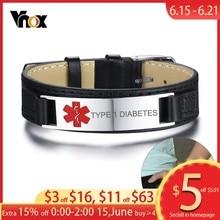 Vnox Type 1 Diabetes Medical Alert ID Bracelets for Men Leather Watch Band Adjustable Length Sports Jewelry Dropship