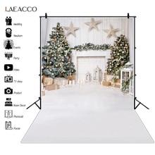 Laeacco Kerstboom Bal Haard Ster Witte Vloer Achtergrond Nieuwe Jaar Party Baby Shower Fotografie Achtergrond Fotostudio