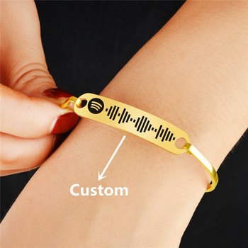 Personalized Music Spotify Scan Code Cuff Bangle For Women Stainless Steel Bracelet Custom Laser engraving Spotify Code Jewelry personalized laser engraving morse code braided rope leather bracelets for men magnetic clasps custom bracelet birthday gift