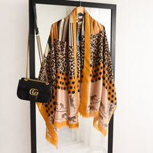 2020 luxury brand women scarf cotton leopard print lady hijabs spring winter warm pashmina beach stoles foulard femme echarpe(China)
