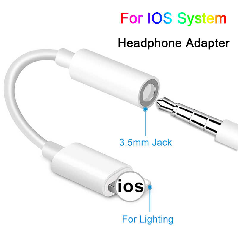 Cables adaptadores para IOS 12 11 10 9 8 en iPhone AUX Audio auricular Convertidor para iPhone a 3,5mm adaptadores cable con clavija para auriculares