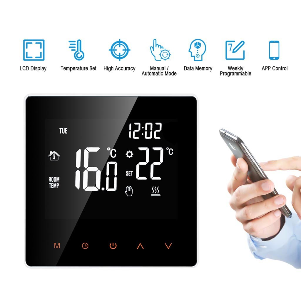 Smart Thermostat Digital Temperature Controller APP Control DisplayTouch Screen Week Programmable  Floor Heatin