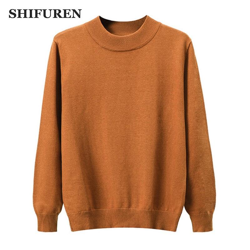 SHIFUREN Warm Half Turtleneck Pullover Men Sweaters 2019 Autumn Winter Pull Homme Slim Fit Classic Male Knitwear Sweaters