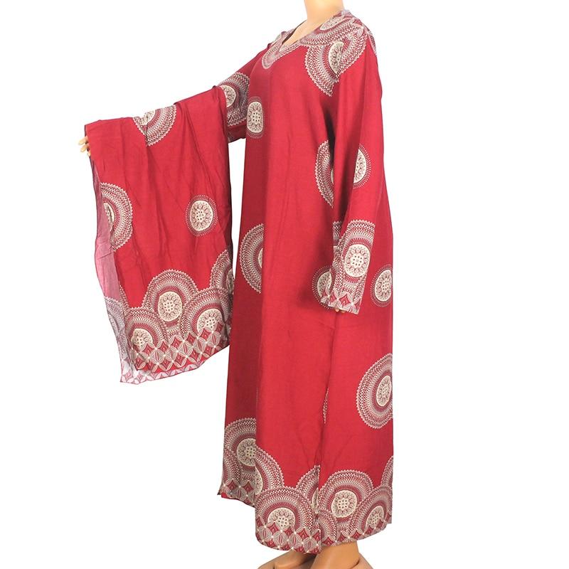 2020 Fashion Spring New Arrival African Dashiki Plus Size Women Long Dress Modern Dashiki Print Cotton Mama Dress With Scarf