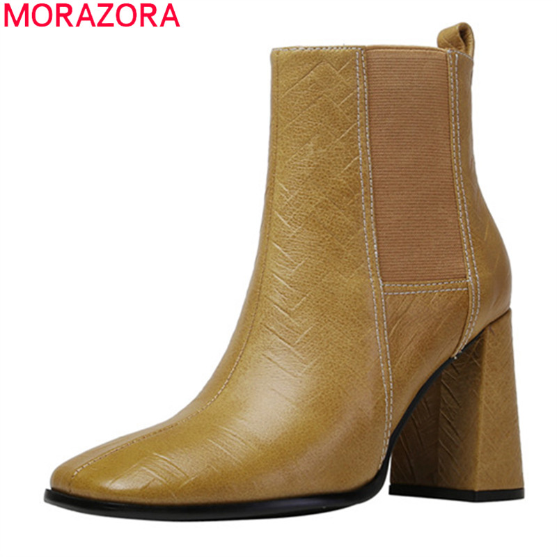 MORAZORA 2020 Genuine leather boots autumn winter high heels ladies shoes thick heels square toe ankle boots for woman