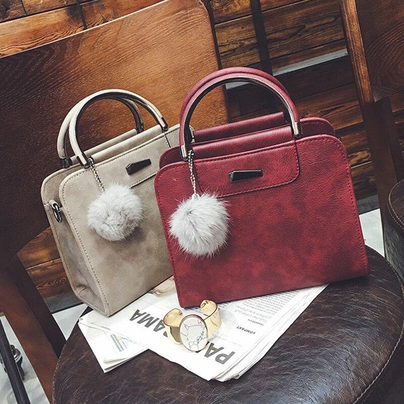 Hot Sale Handbag Women Casual Tote Bag Female Large Shoulder Messenger Bags High Quality PU Leather Handbag With Fur Ball Bolsa