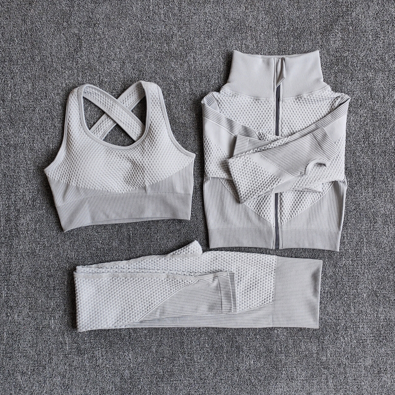 Sport Gym Suits Wear Yoga-Sets Running-Clothes Long-Sleeve Seamless Female Women Fitness