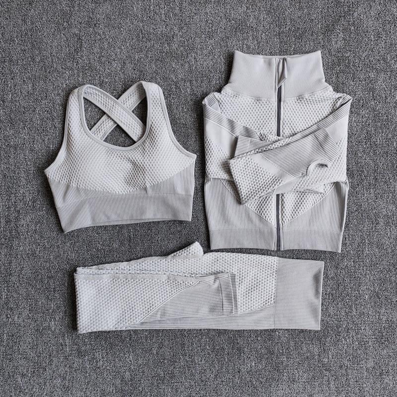 Frauen Fitness Sport Yoga Anzug Nahtlose Frauen Yoga Sets Langarm Yoga Kleidung Weibliche Sport Gym Anzüge Tragen Running Kleidung
