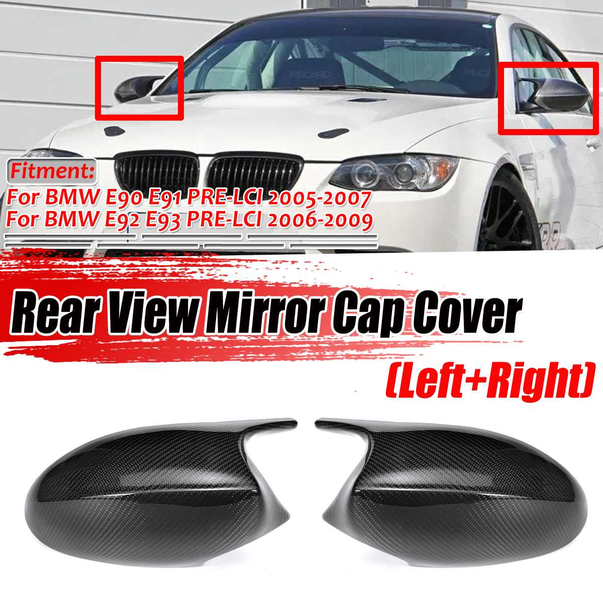 2pc M3 Style Real Carbon Fiber Side Door Rear View E90 Mirror Cover Caps For BMW E90 E91 2005-2007 E92 E93 2006-2009 E81 E82 E88 image
