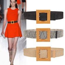 Новые пояса для женщин горячий плетеный пояс на резинке модное платье юбка пальто Смола Большая квадратная пряжка простой широкий вязаный пояс