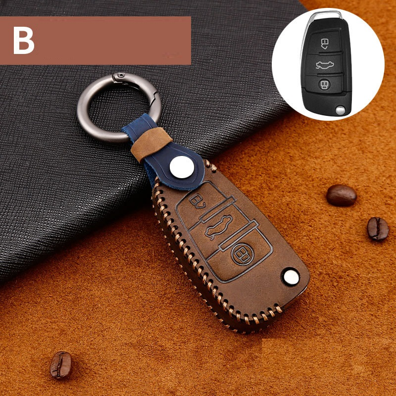 Genuine Leather Car-Styling Auto Protection Key Shell Cover Case For Audi TT A7 A4 A4L 8S B9 Q5 A6L A5 A8 Q3 Q7 Accessories