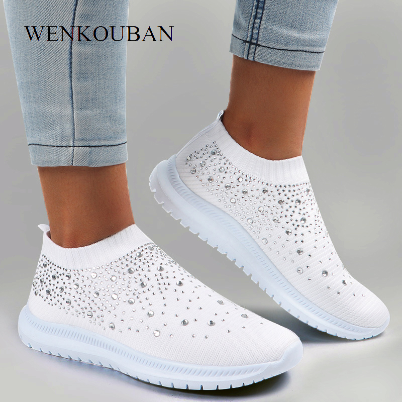 Summer White Sneakers Women Vulcanized Shoes Ladies Slip On Sock Shoes Casual Walking Bling Flats Female Trainers Tenis Feminino