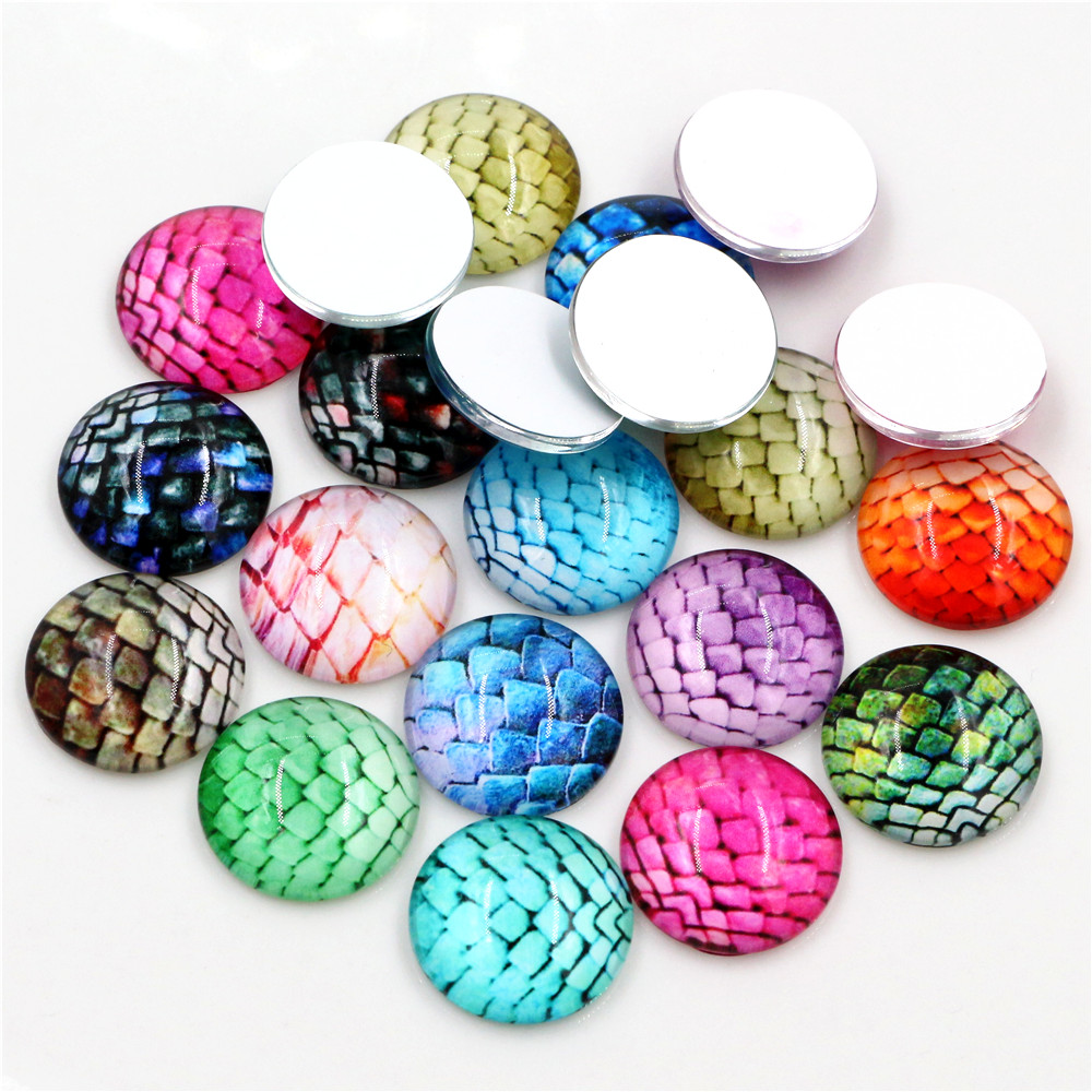 New Fashion10pcs 20mm 25mm  Hot Sale  Mixed Handmade Glass Cabochons Pattern Domed Jewelry Accessories Supplies