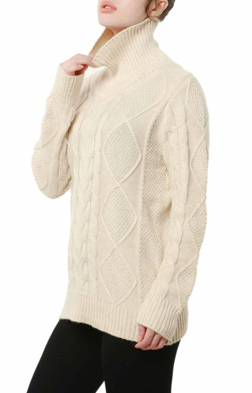 재단사 양 터틀넥 스웨터 여성 겨울 캐시미어 점퍼 울 니트 하단 여성 긴 소매 두꺼운 트위스트 루스 풀오버