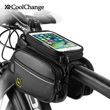 CoolChange Bicycle Bag Front Frame Large MTB Bike Bag With Waterproof Cover Screen Touch Top Tube Phone Bag Cycling Accessories west biking bicycle bags front frame high quality mtb bike bag cycling accessories waterproof screen touch top tube phone bag