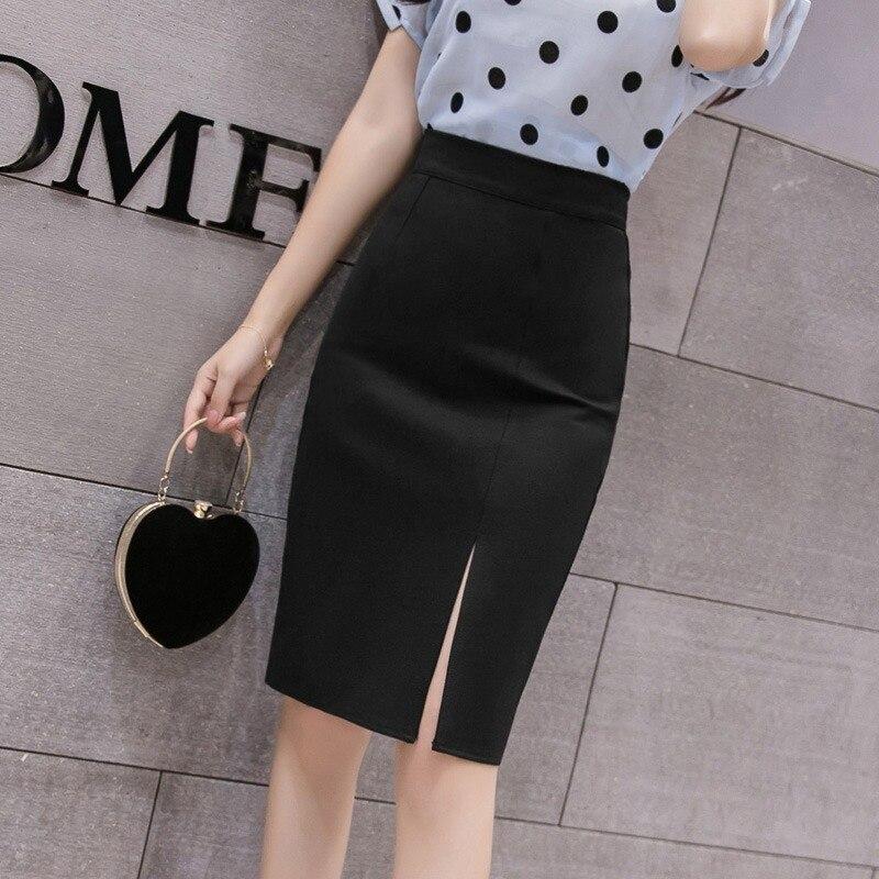 Новинка Весна 2021, черная юбка с разрезом и высокой талией для отдыха, профессиональная маленькая юбка для женщин