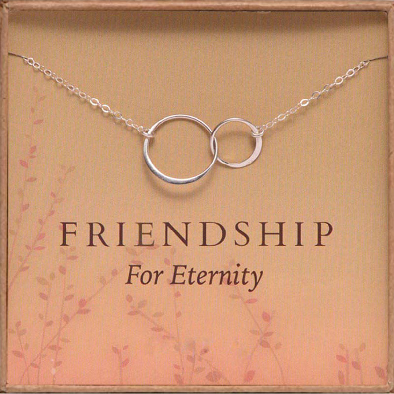 Gold Circle Necklace Women Friendship for Eternity Necklace Two Interlocking Infinity Circles Gift for Best Friend image