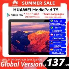 CODE:RELAX - 600р от 6 000р. OFF Глобальная версия HUAWEI MediaPad T5 4 Гб 64 Гб планшетный ПК 10,1 дюймов Octa Core двойной динамик 5100 мА/ч, поддержка карт microSD Android 8,0
