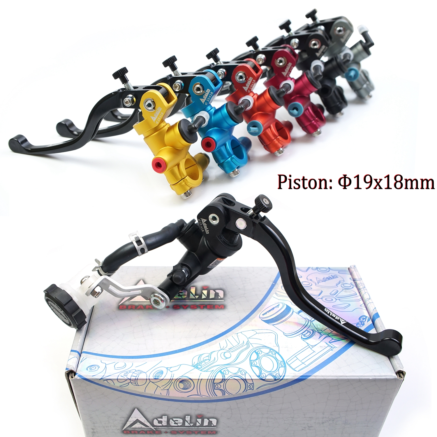 Piston 19mm 19RCS Radial Mounting Brake Clutch Lever Moto Hydraulic Master Cylinder 22mm 7/8