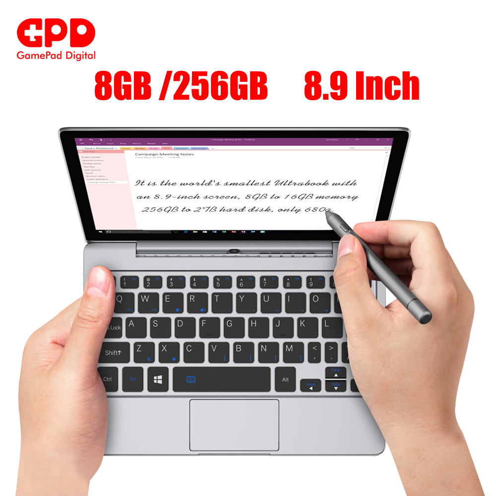 GPD P2 Max 8 9 Inch laptops with windows 10 Inter Core Celeron 3965y  gaming laptop mini laptop notebook 8GB 256GB