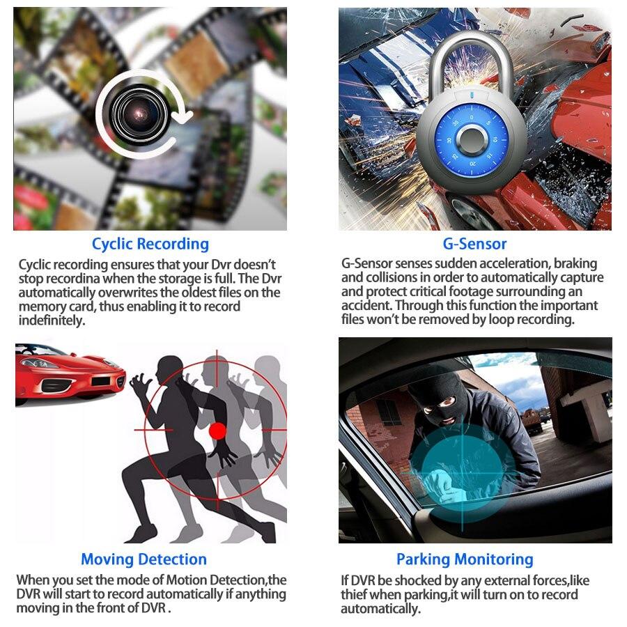 E-ACE Car DVR 3 Cameras Lens 4.0 Inch Dash Camera Dual Lens suppor Rearview Camera Video Recorder Auto Registrator Dvrs Dash Cam 3