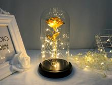 Gold Foil Rose LED Copper Wire Light Glass Cover Wooden Base Night Lamp Home Bedroom Imitation Eternal Flower Holiday Decoration