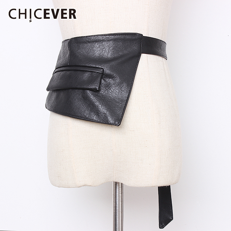 CHICEVER Asymmetrical PU Leather Belts For Women Tunic Adornment Adjustable Dresses Accessories Belt Female Autumn Fashion 2019